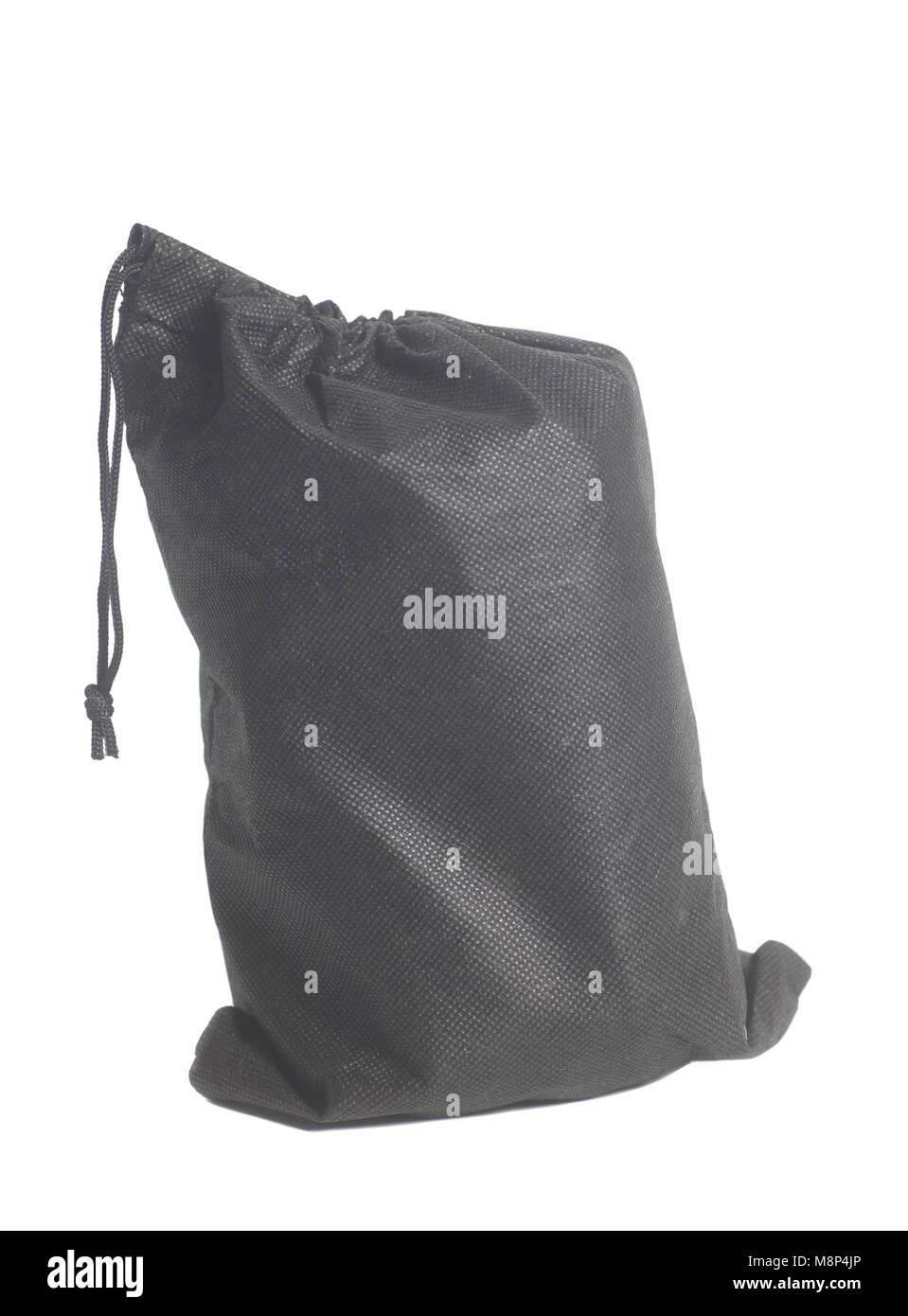 bd2a3d09babc6 Schwarzer Stofftasche isoliert auf weißem Hintergrund Stockfoto ...