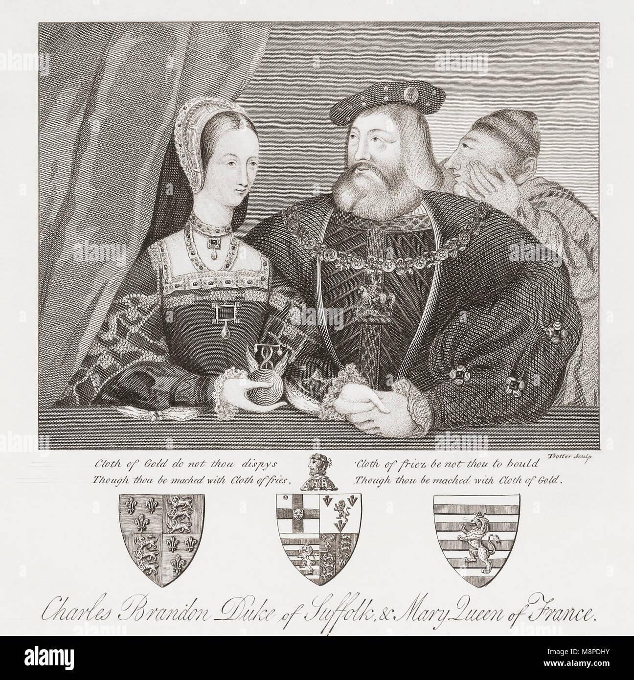 Maria Tudor und Charles Brandon. Maria Tudor, 1496-1533, Königin von Frankreich und der Herzogin von Suffolk. Stockbild
