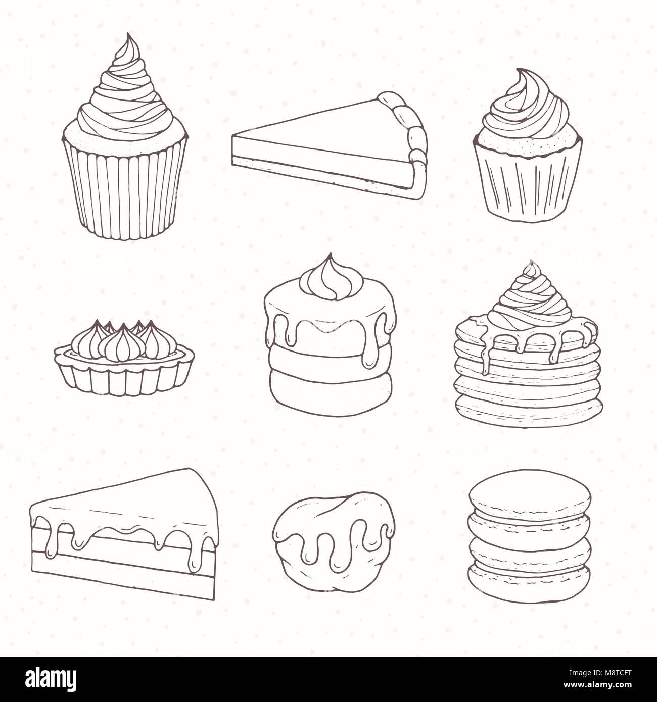 Hand Gezeichnet Vektor Konditorei Mit Kuchen Torten Kuchen