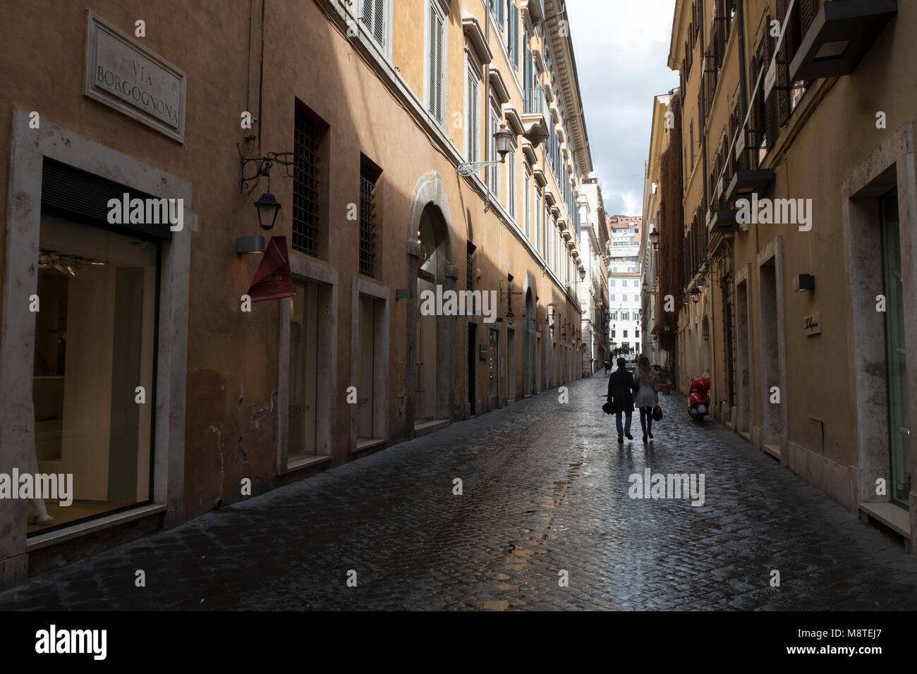 Via Borgognona, Rom, Italien Stockbild