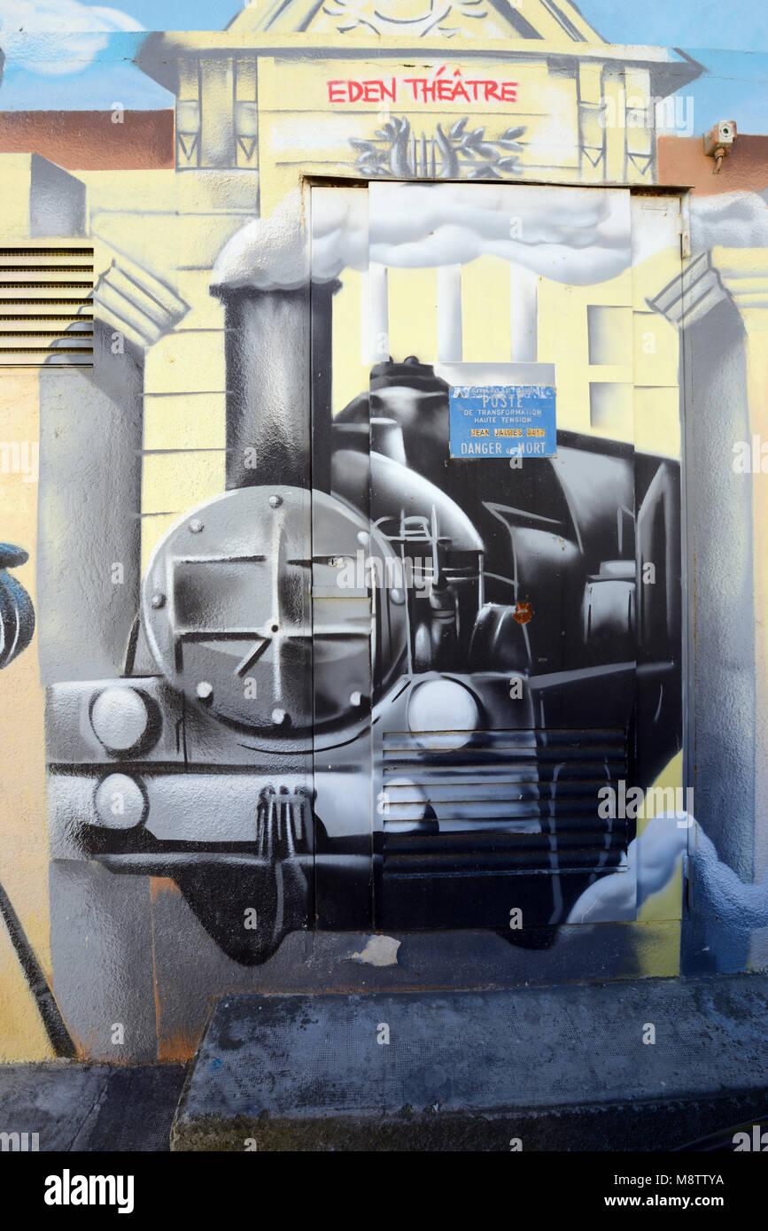 """Malerei der Dampfzug, Eden Theater, von der frühen Film """"Ankunft eines Zuges in La Ciotat' von den Stockbild"""