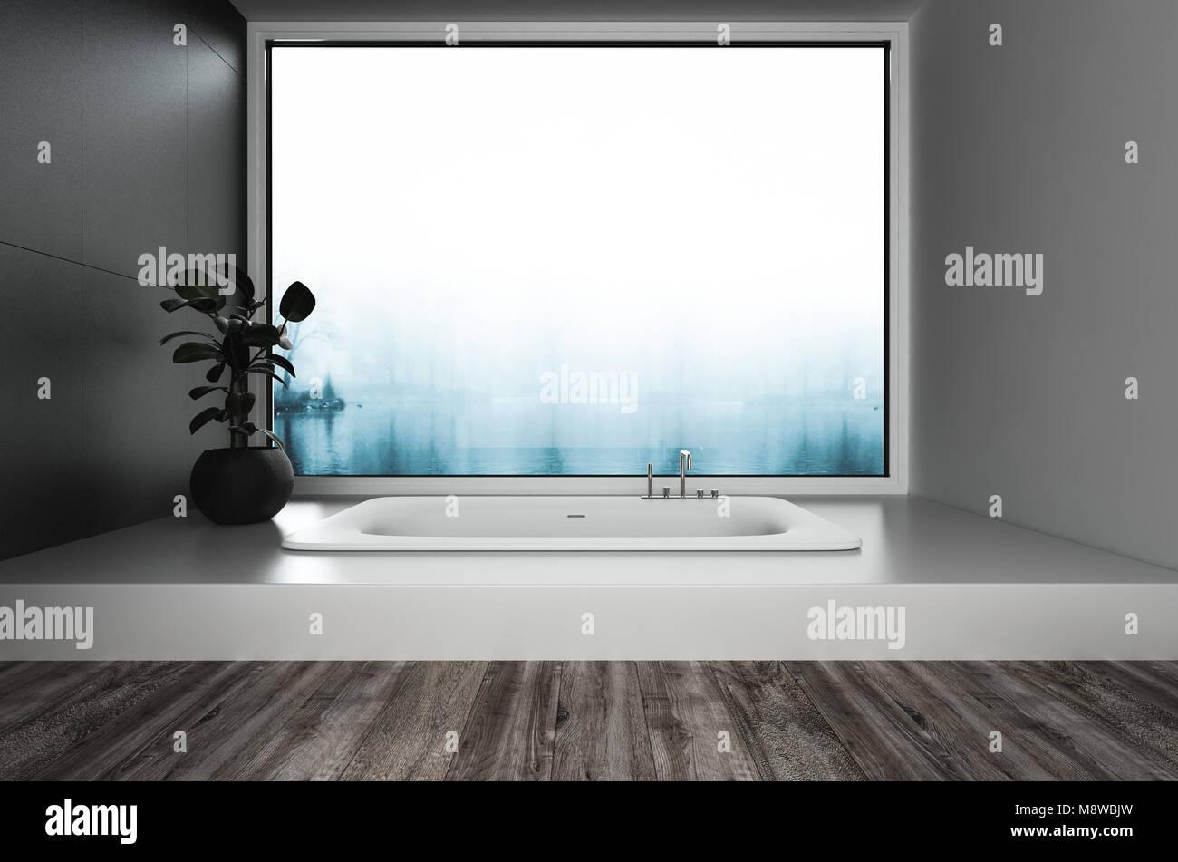 Eingelassene Badewanne luxuriöse moderne badezimmer ausgestattet mit eingelassene