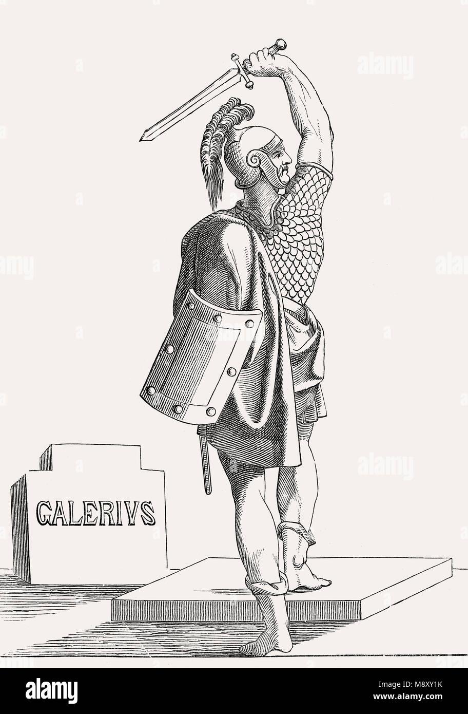 Galerius, Römischer Kaiser von 305 bis 311 Stockbild