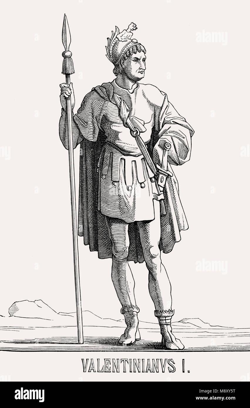 Valentinian I., der Große, Römischer Kaiser Valentinian von 364 bis 375 Stockbild