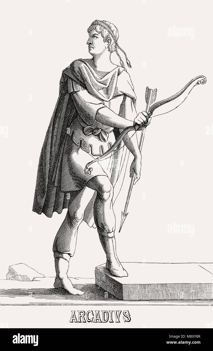 Arcadius, Flavius Arcadius Augustus, war östlichen Römischen Kaiser von 395 bis 408 Stockbild