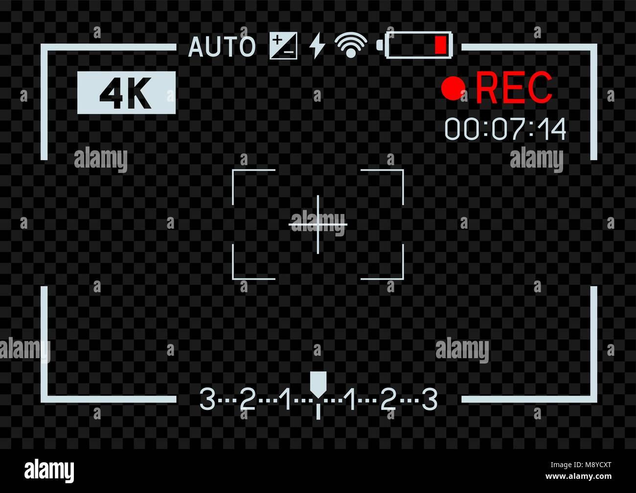 4K-Auflösung Videokamera rec Sucher aperture Bohrung auf ...