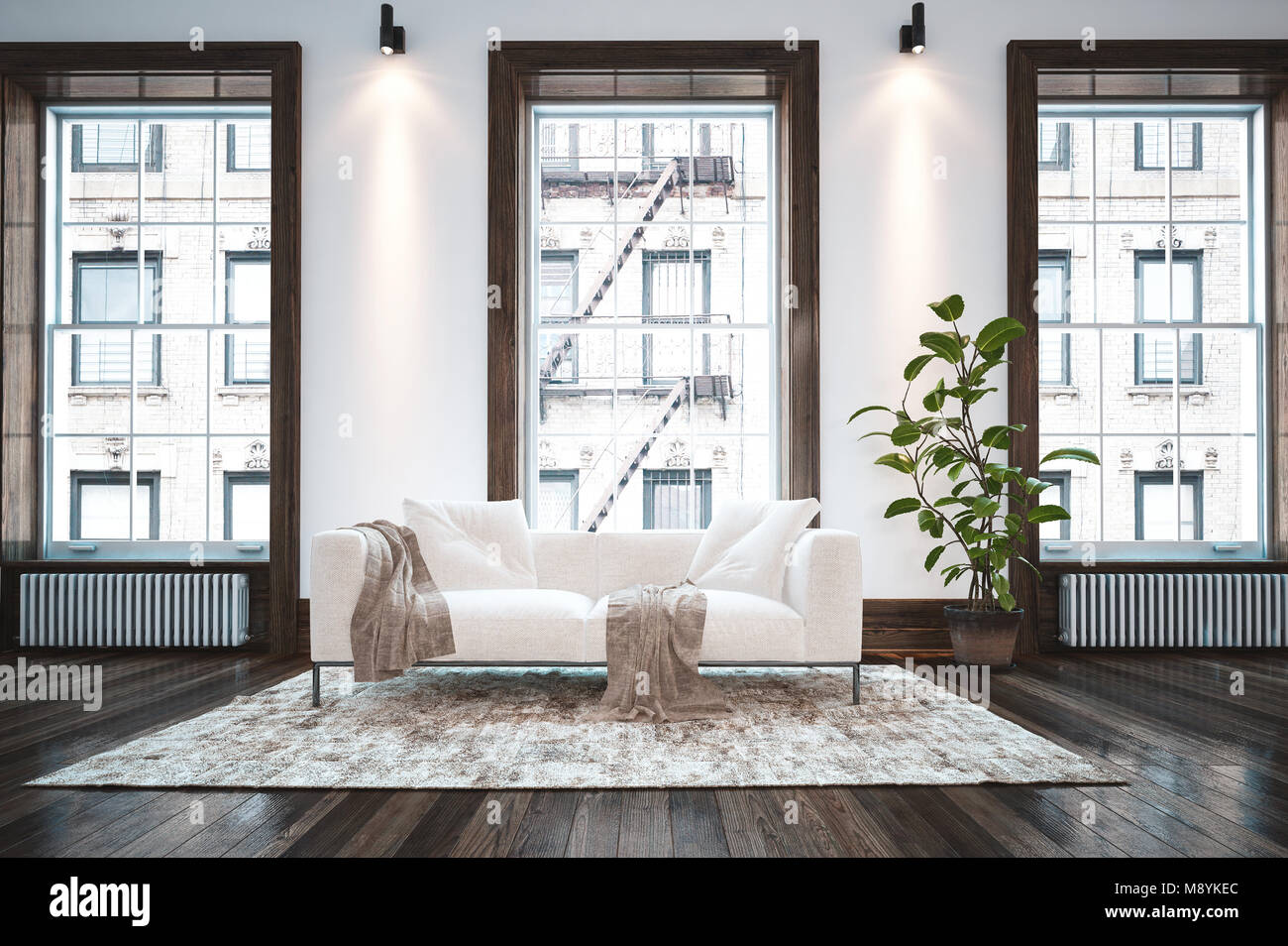 Eleganten, minimalistischen Schlafzimmer Wohnzimmer Einrichtung mit ...