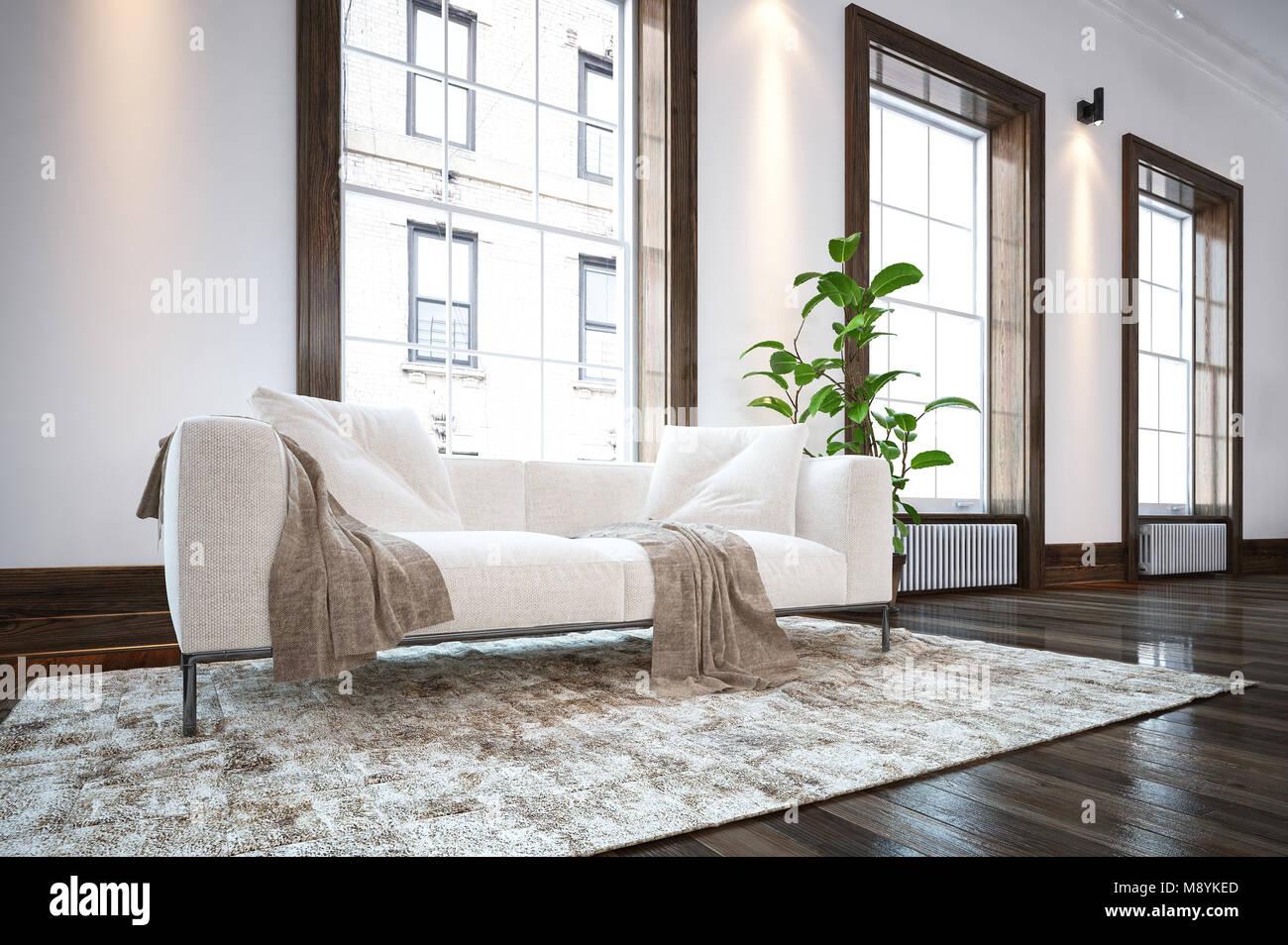 Fußboden Teppich ~ Große geräumige luxuriöse minimalistischen wohnzimmer mit bequemen