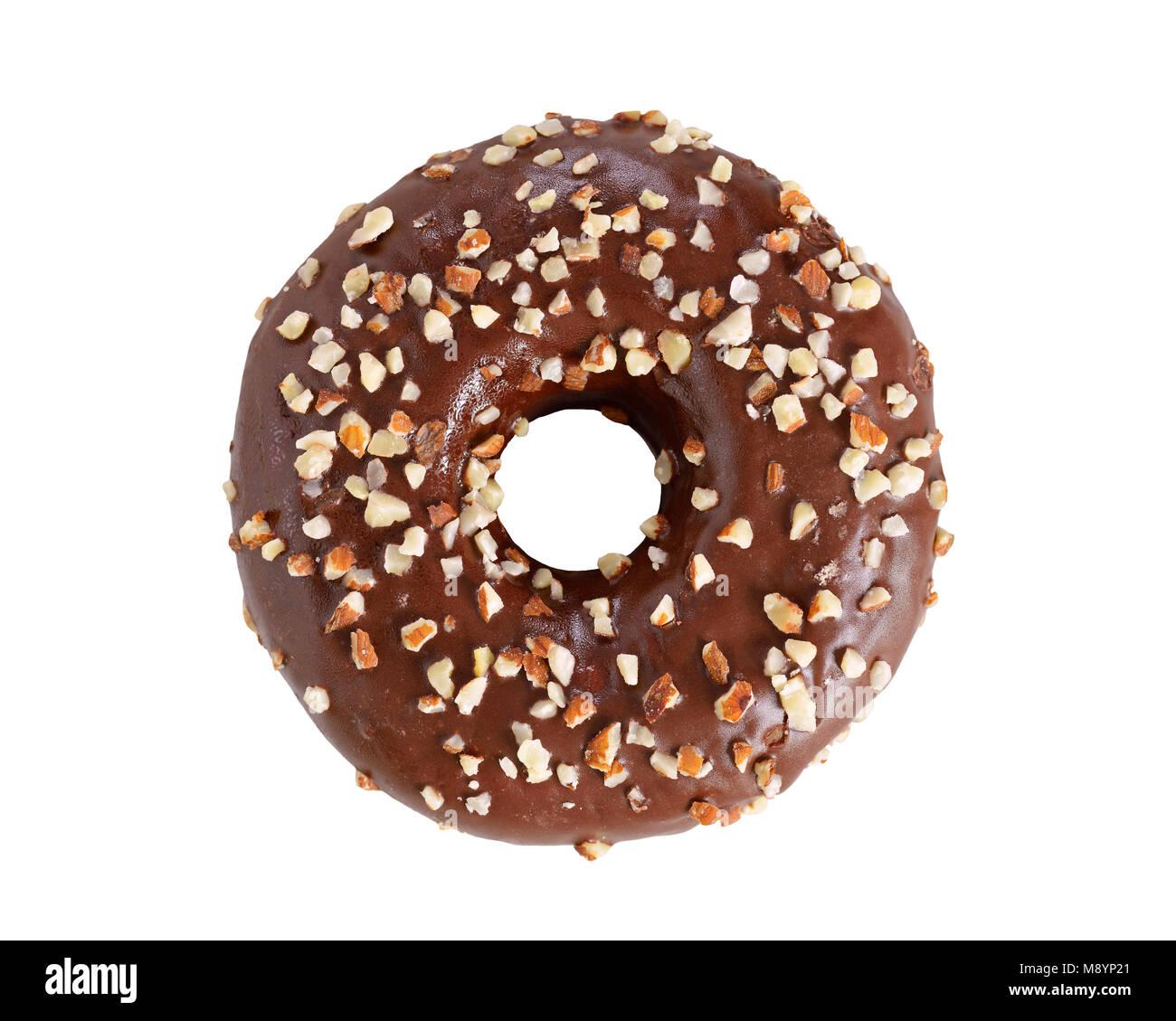 Donut bedeckt mit Schokolade und Nüsse, Ausschneiden Stockbild