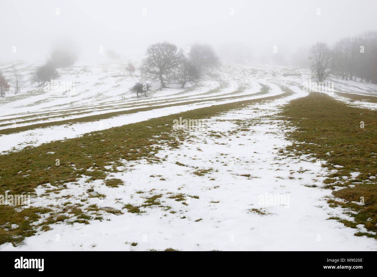 Ridge und Furche mittelalterlichen Feld System durch schmelzenden Schnee auf der Dover Hill, Chipping Campden, Cotswolds, Stockbild