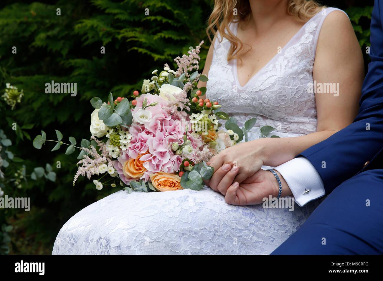Hochzeit. Jungvermählten. Frankreich. Stockbild