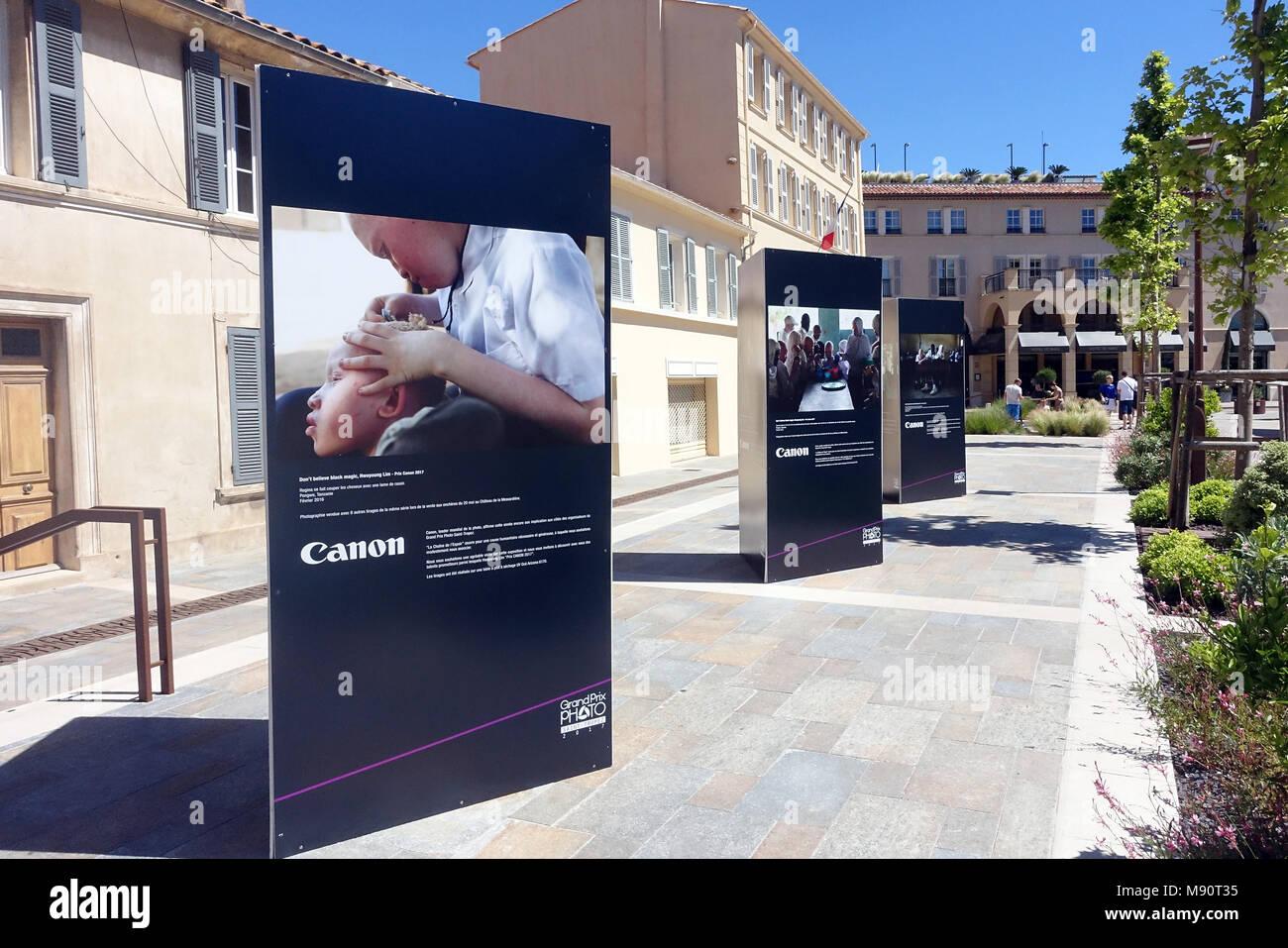 Grand Prix Foto de Saint-Tropez. Ausstellung von Canon. Stockbild