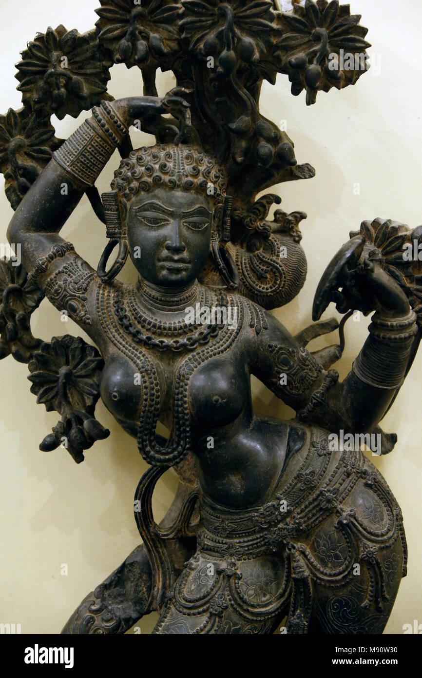 National Museum von Indien, Delhi. Mohini (weibliche Darstellung von Vishnu). Westlichen Chalukya, 12. Jahrhundert n. Chr. Gadag, Karnataka. Stein. Detail. Indien. Stockbild