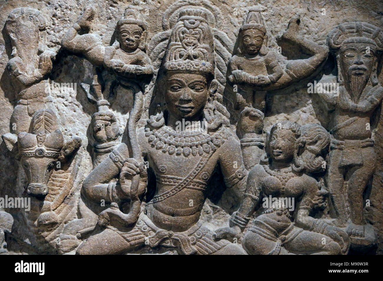 National Museum von Indien, Delhi. Shiva, Parvati und Familie. Frühen westlichen Chalukya, 10. Jahrhundert n. Chr. Aihole, Karnataka. Stein. Detail. Indien. Stockbild