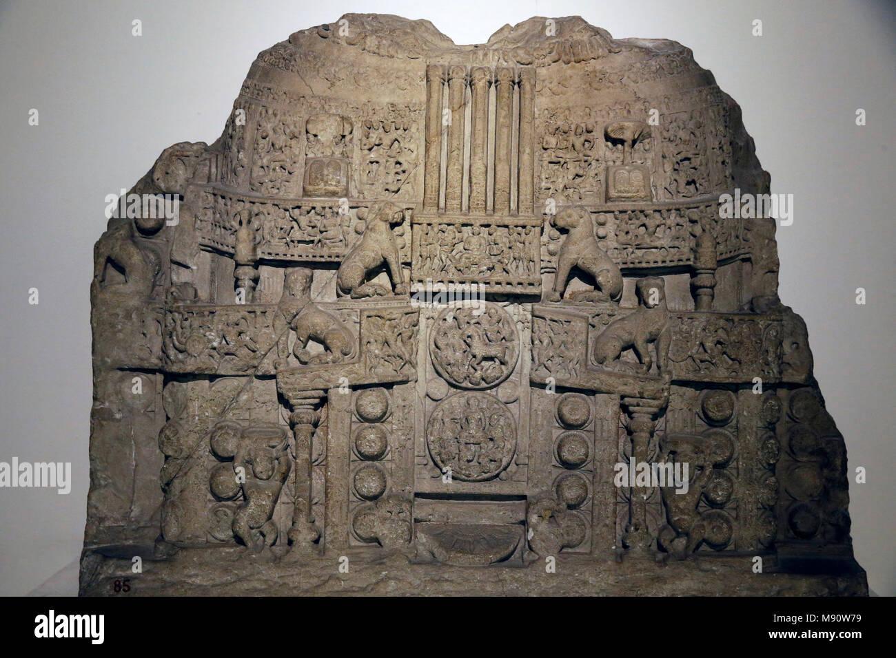 National Museum von Indien, Delhi. Amaravathi stupa Abbildung. Gehäuse Scheibe. Satavahana, 1st-2nd Jahrhundert Amaravathi, Andhra Pradesh. Geschnittenem Kalkstein Stockbild