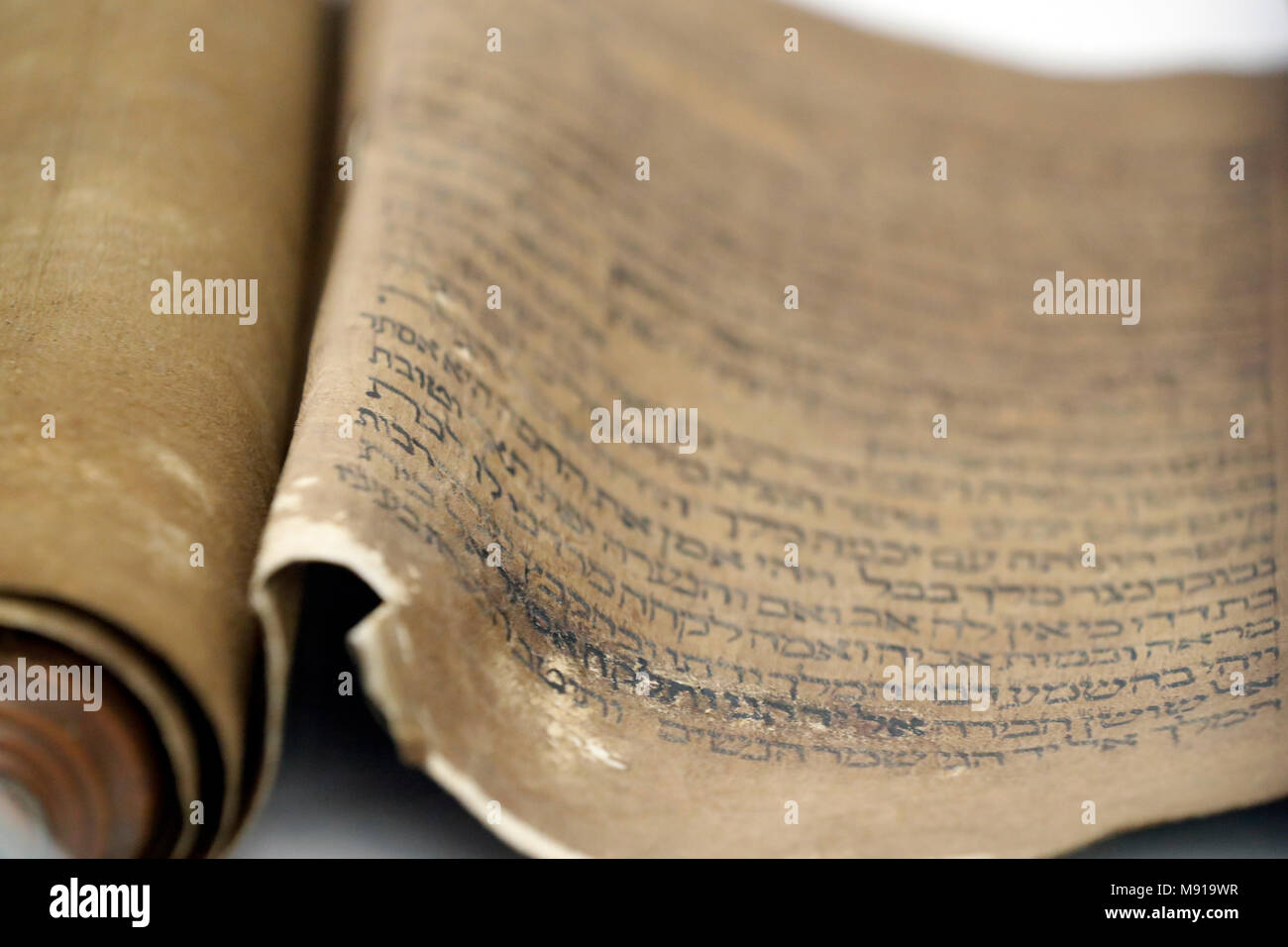 Bartholdi Museum. Blättern des Buches Esther (Meguilah). Aus dem 18. Jahrhundert. Colmar. Frankreich. Stockbild