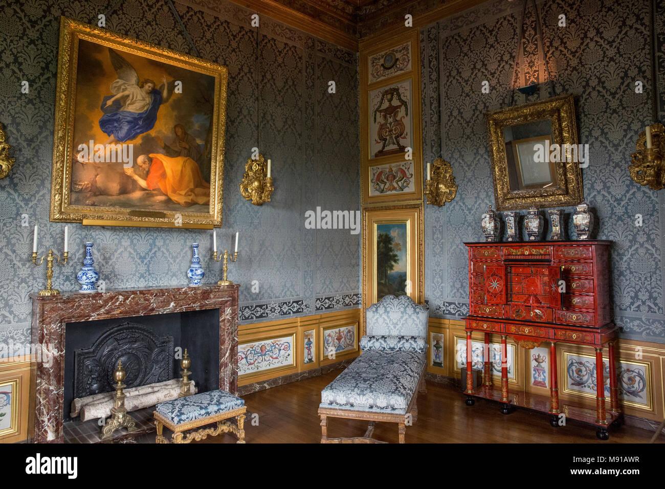 Vaux-le-Vicomte Castle. Frau Fouquet's Zimmer. Frankreich. Stockbild