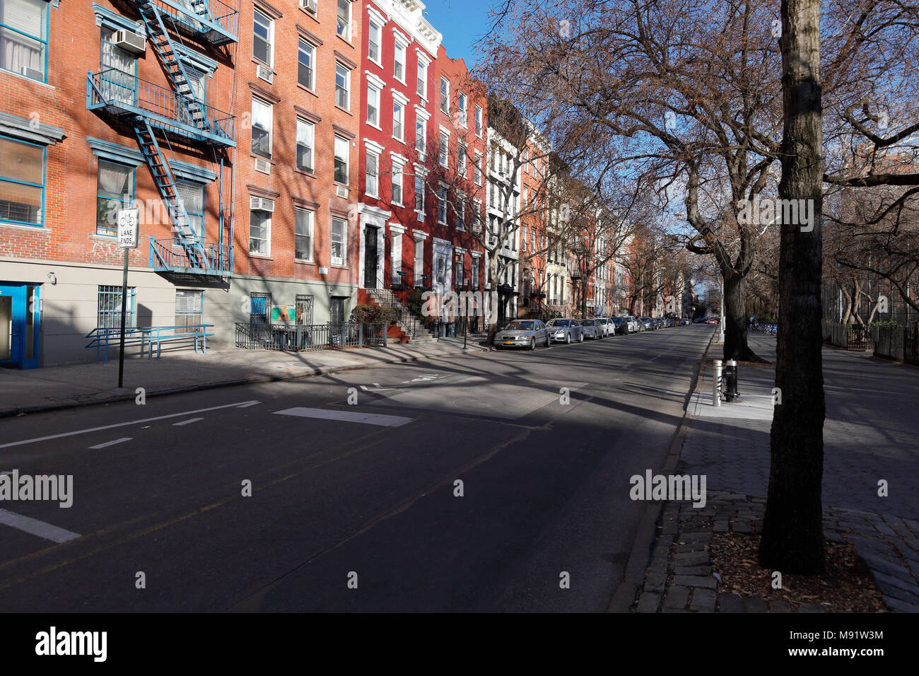 Häuser im East Village, New York City Stockbild