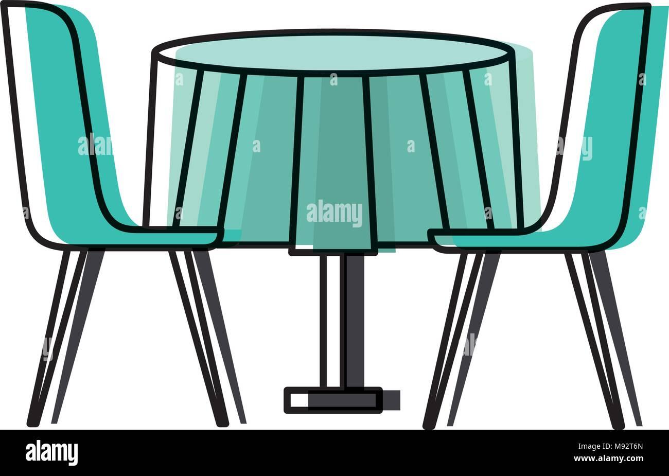 Möbel Restaurant Paar Stuhl Und Runder Tisch Vektor Abbildung Bild