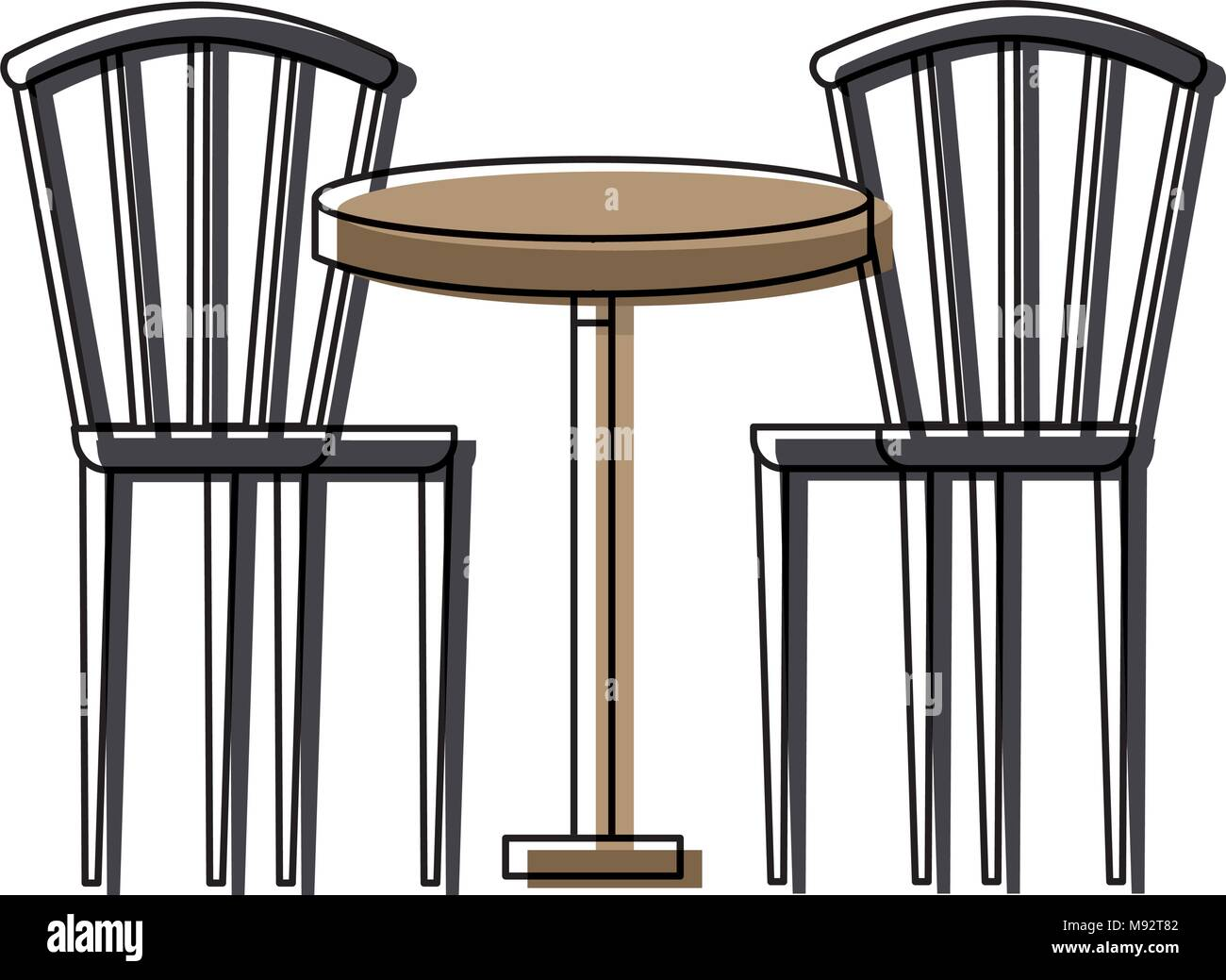 Zwei Hölzernen Stuhl Runder Tisch Möbel Vektor Abbildung Bild