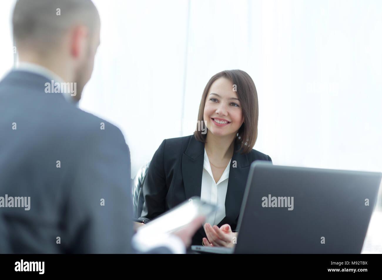 Erfolgreiche Job Interview mit Chef Stockbild