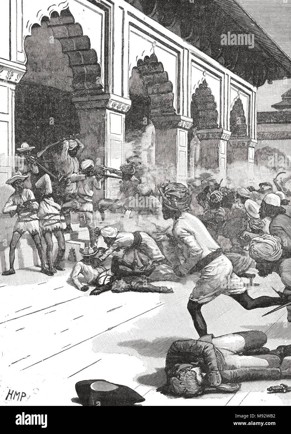 Verhaftung des Rajah von Benares, Chait Singh, August 1781. Benares, Indien heute Varanasi, auch als Banaras bekannt Stockbild