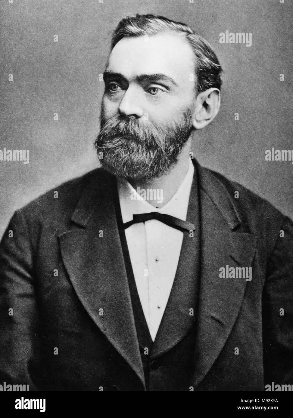 Alfred Nobel, Alfred Bernhard Nobel (1833-1896), schwedischer Chemiker, Ingenieur, Erfinder, Unternehmer und Philanthrop. Stockbild