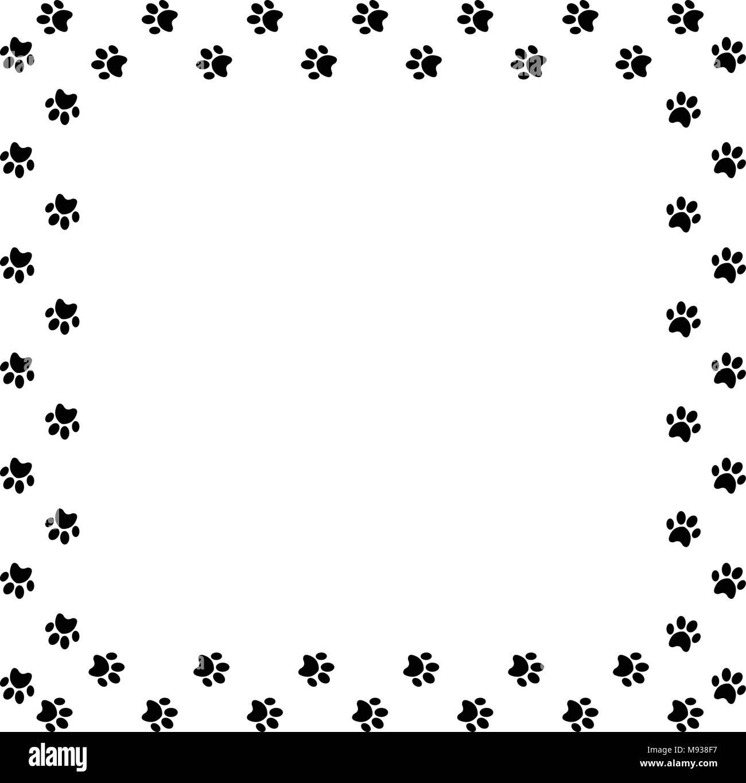 Quadratischen Rahmen aus schwarzem Animal paw Prints auf weißem ...
