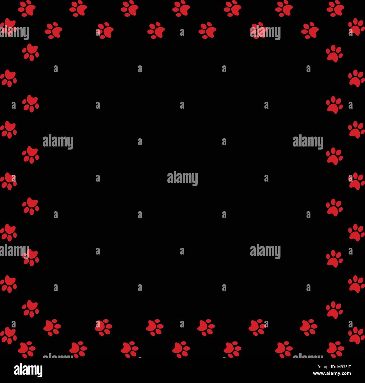 Quadratischen Rahmen aus rotem Tier Pfotenabdrücke auf schwarzem ...