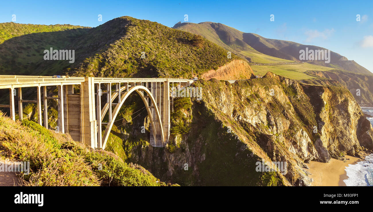 Berühmte Bixby Creek Bridge - Big Sur, Kalifornien Stockfoto