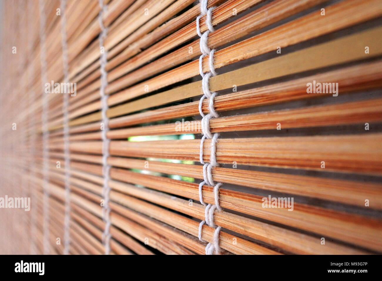 Tropischer Bambus Holz Jalousien Am Fenster Zusammenfassung