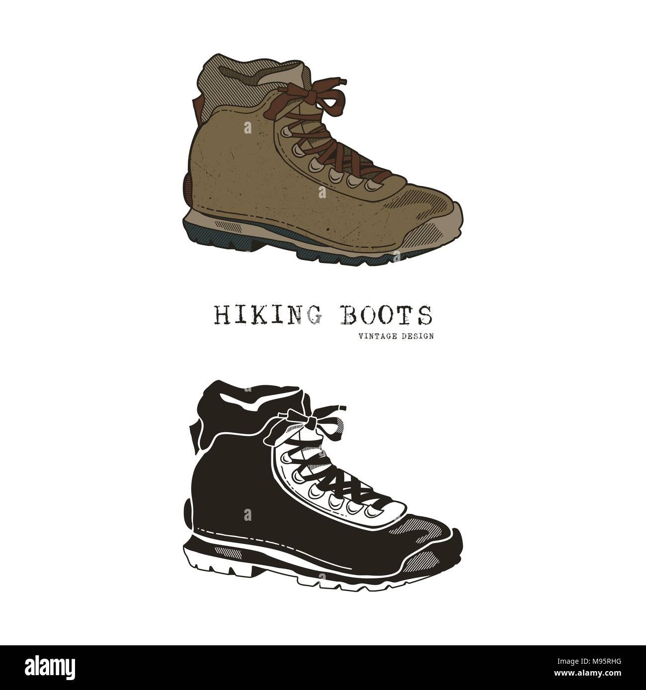 Jahrgang Hand Gezeichnet Reisen Stiefel Im Retro Stil Farbe Und