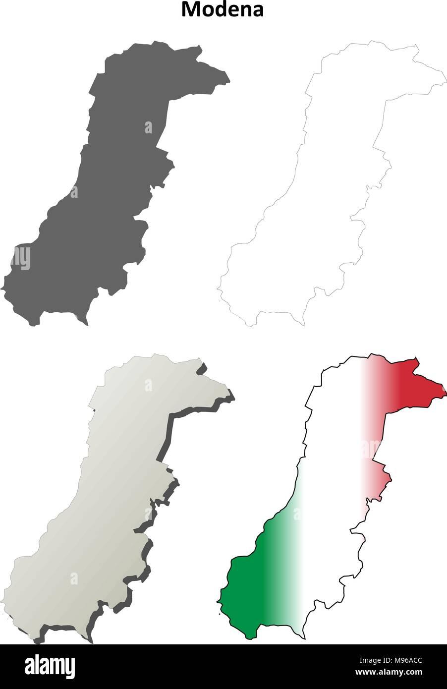 Modena Leer Detaillierte Gliederung Karte Gesetzt Vektor Abbildung