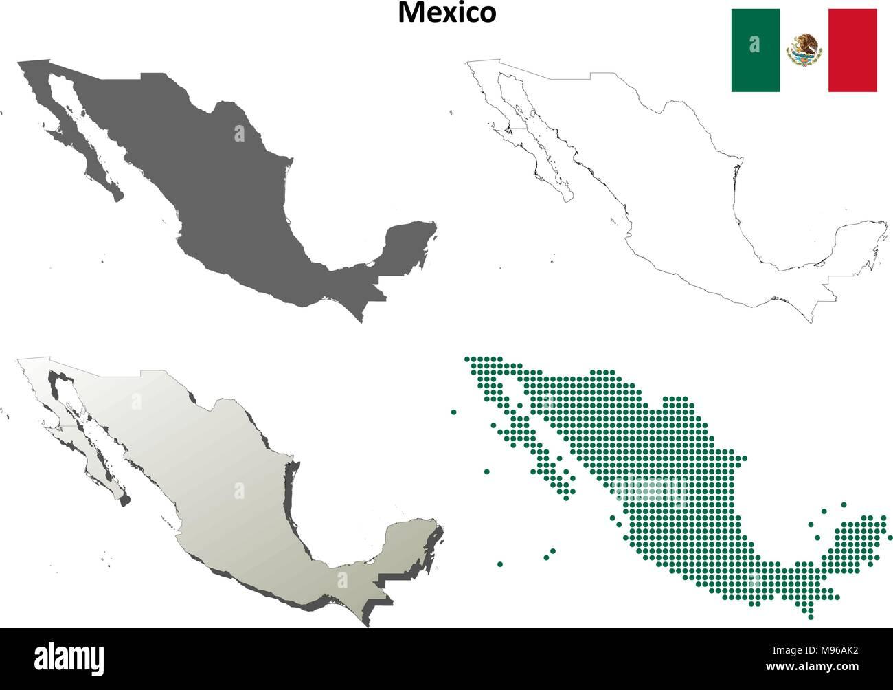 Mexiko Karte Umriss.Mexiko Umriss Karte Gesetzt Vektor Abbildung Bild