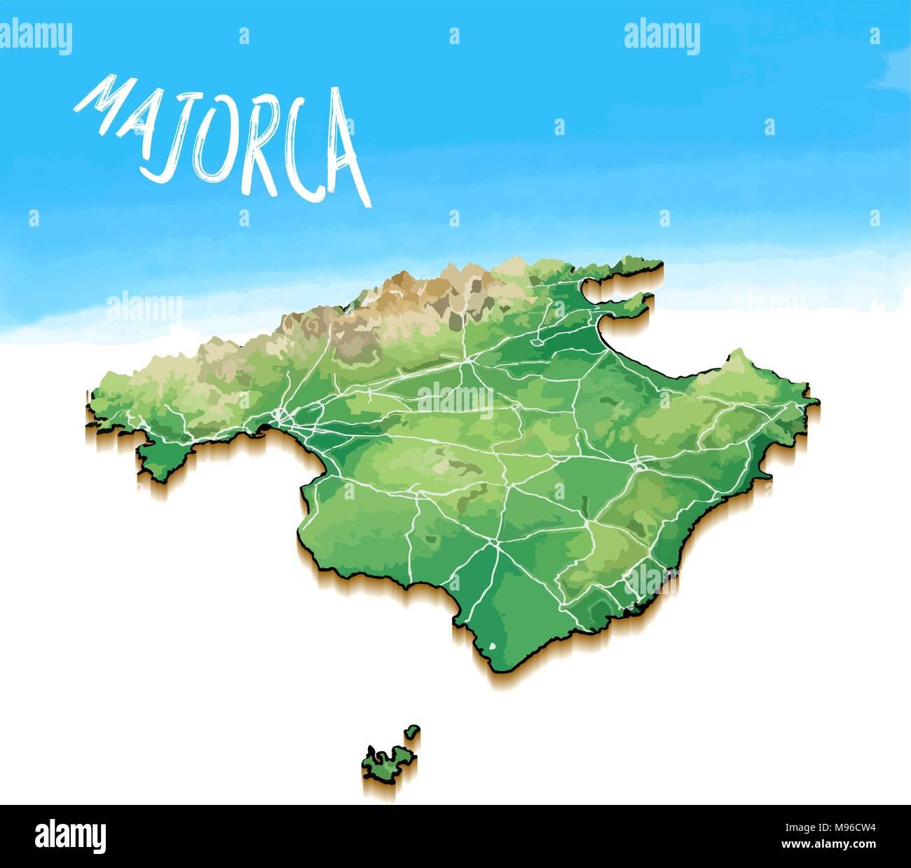 Mallorca Karte Umriss.3d Karte Der Insel Von Mallorca Detaillierte Vector