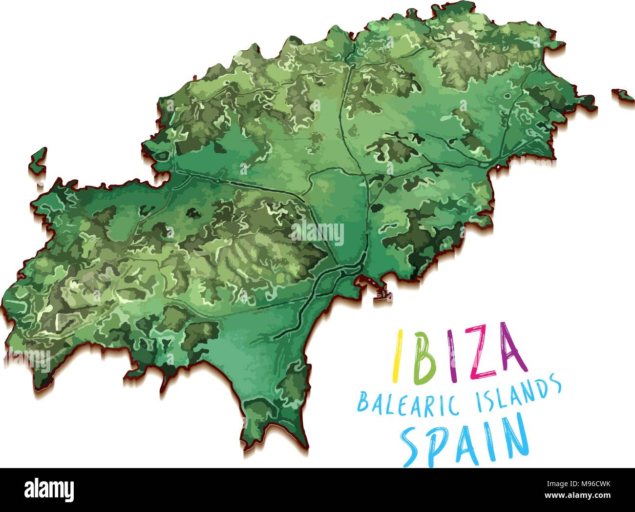 Ibiza Karte Umriss.3d Karte Der Insel Ibiza Detaillierte Vector Illustration