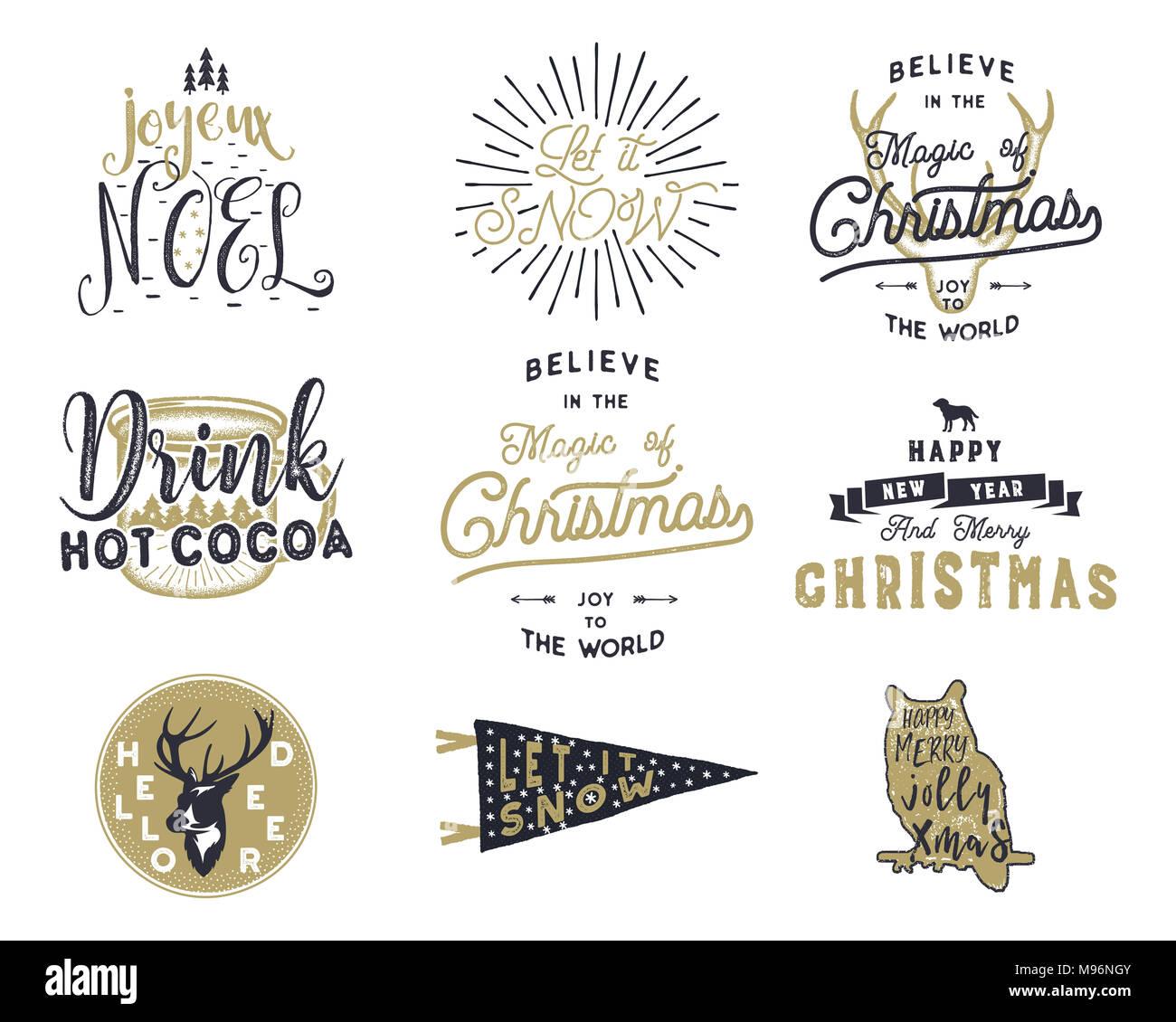 Etiketten Frohe Weihnachten.Big Frohe Weihnachten Typografie Anführungszeichen Wünsche Bündeln