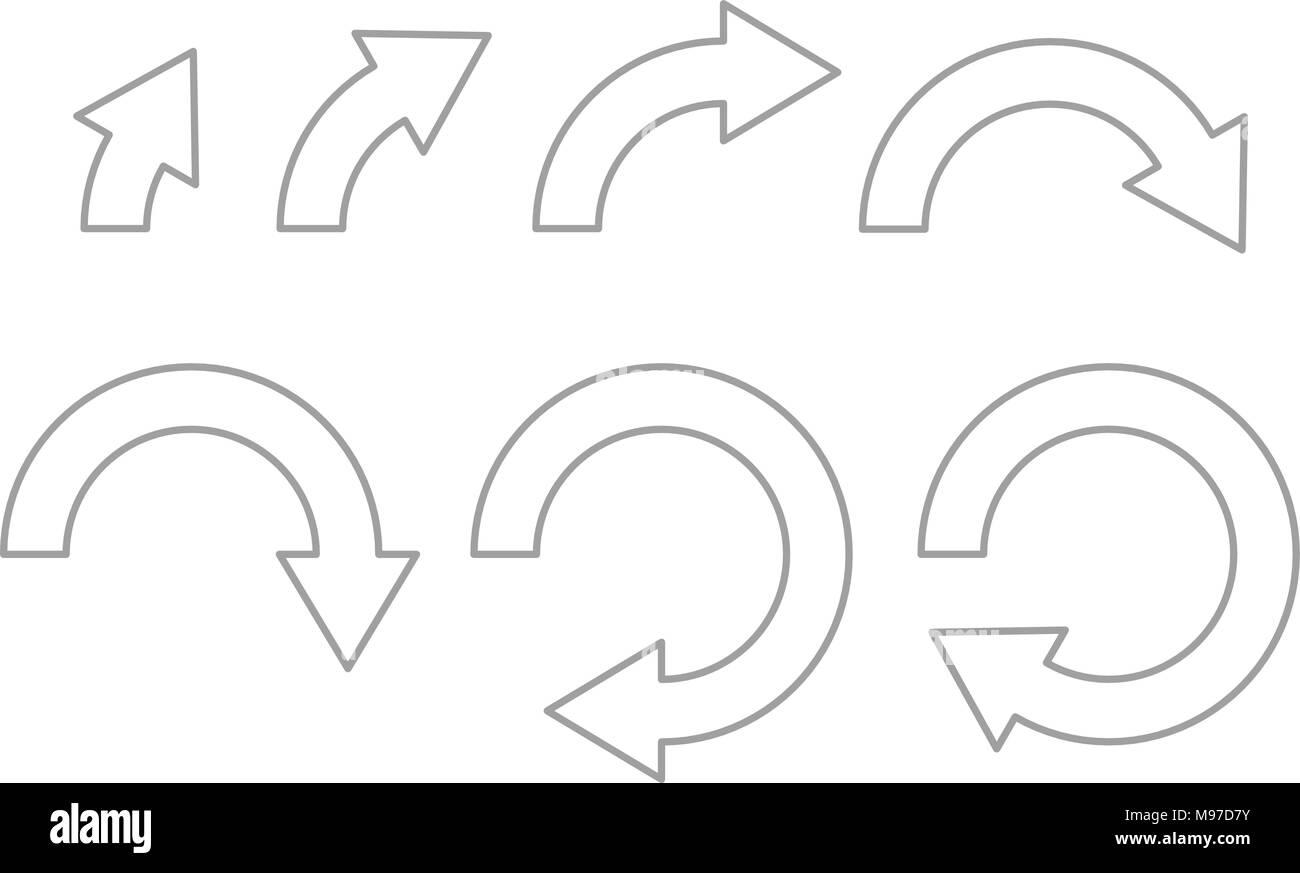 Rotation Pfeile. Satz von outline Symbole auf verschiedenen Ebenen Stockbild