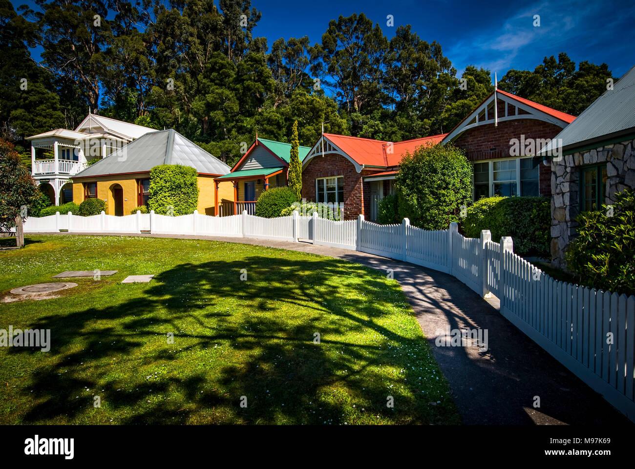 Australien, Tasmanien, Strahan Village, Hafen, Stahan Stockbild