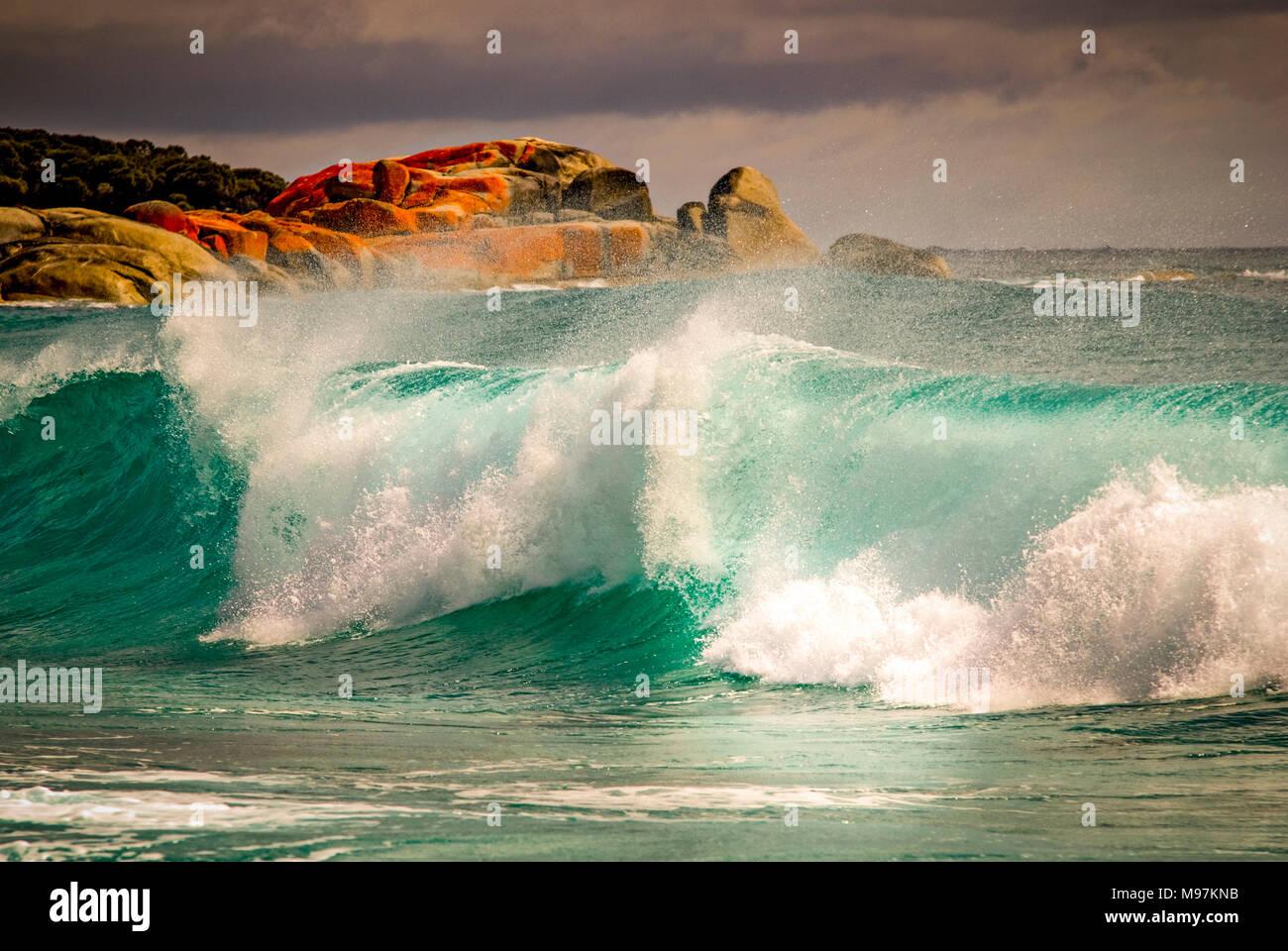 Australien, Tasmanien, Felsformation, die Bucht von Bränden, St. Helens, Granitfelsen Stockbild