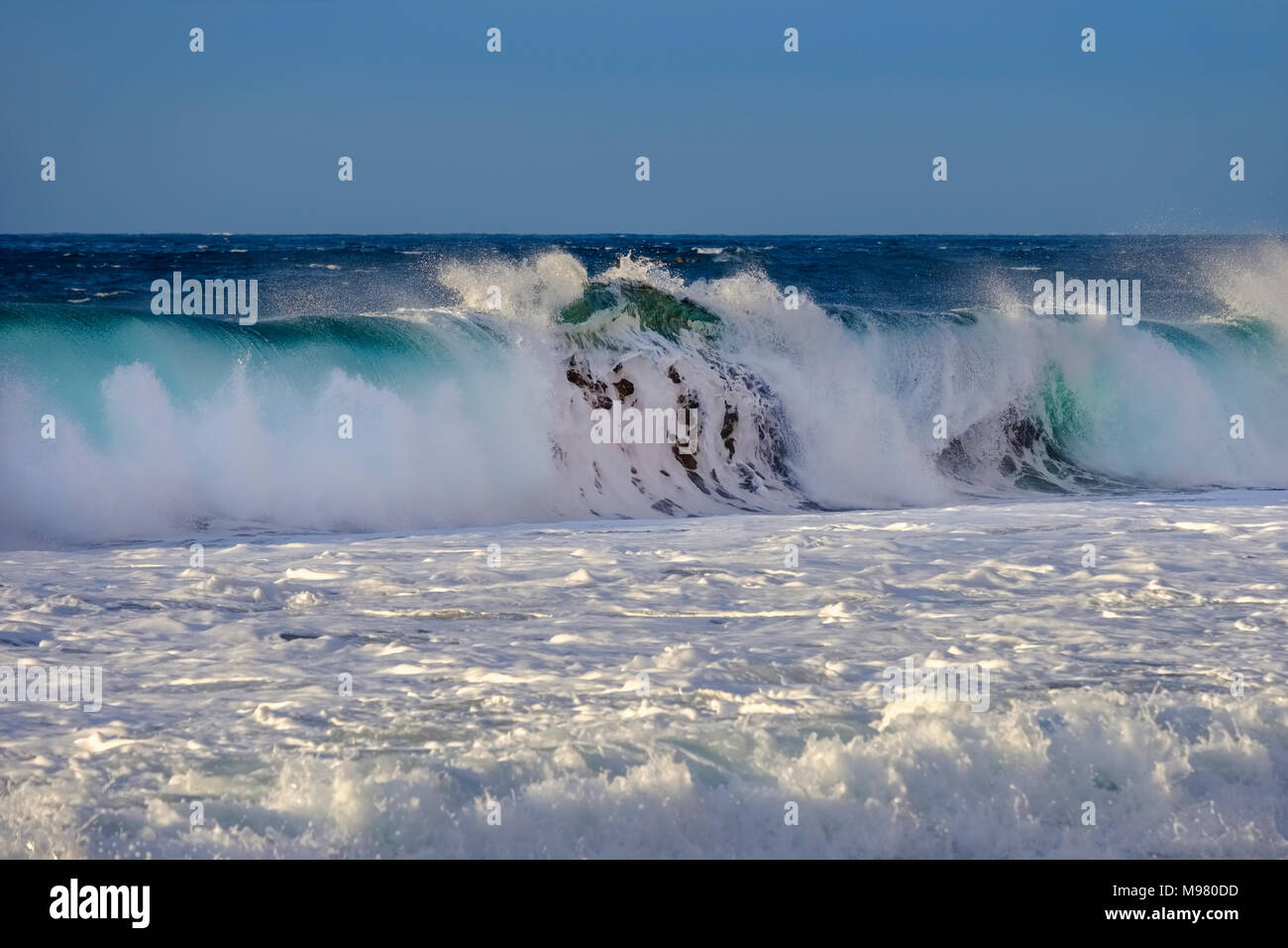 Welle in Sandbaai, Atlantik, Playa del Ingles, Valle Gran Rey, La Gomera, Kanarische Inseln, Spanien Stockbild