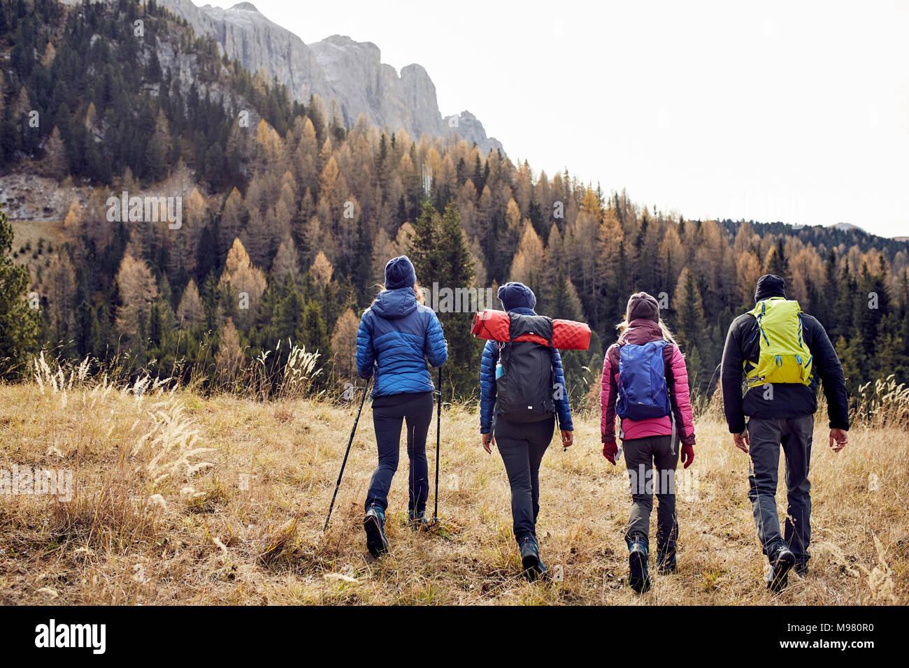Gruppe von Freunden Wandern in den Bergen Stockbild