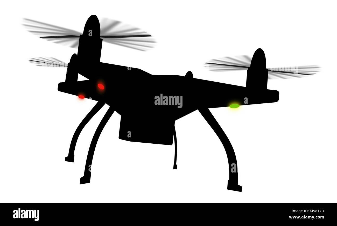 Drone Silhouette 3D-isoliert. Schwarz quadcopter mit rotierenden Propellern auf weißem Hintergrund. Stockbild