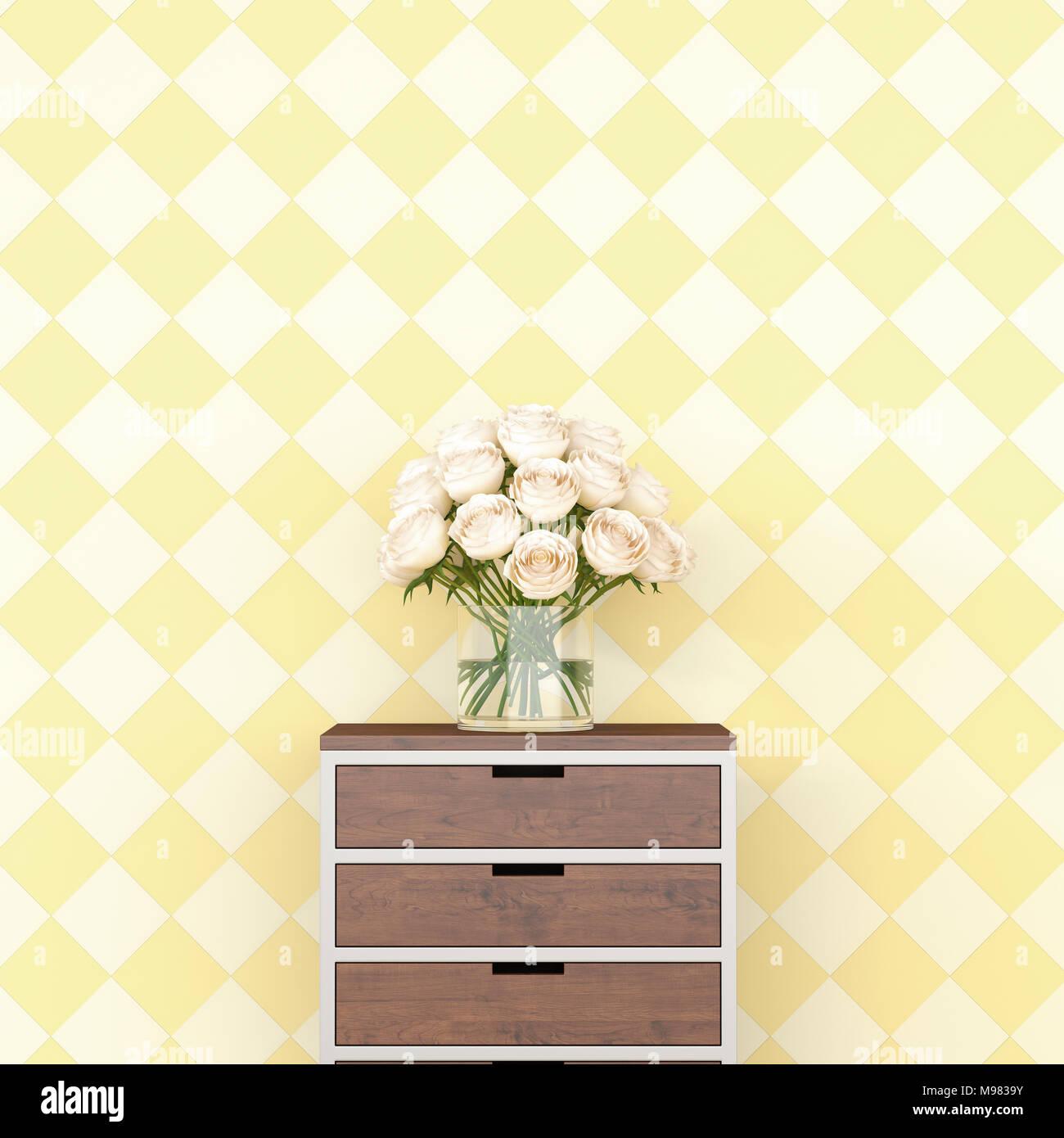 Blumen Auf Der Kommode Vor Der Karierten Muster Tapete 3d Rendering