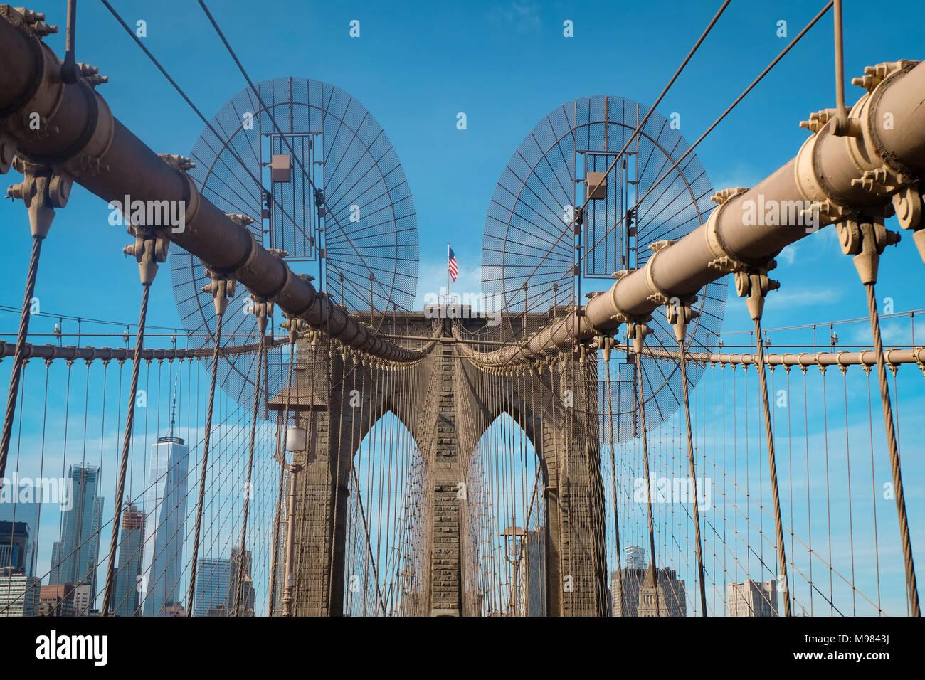 USA, New York City, Brooklyn Bridge Stockbild