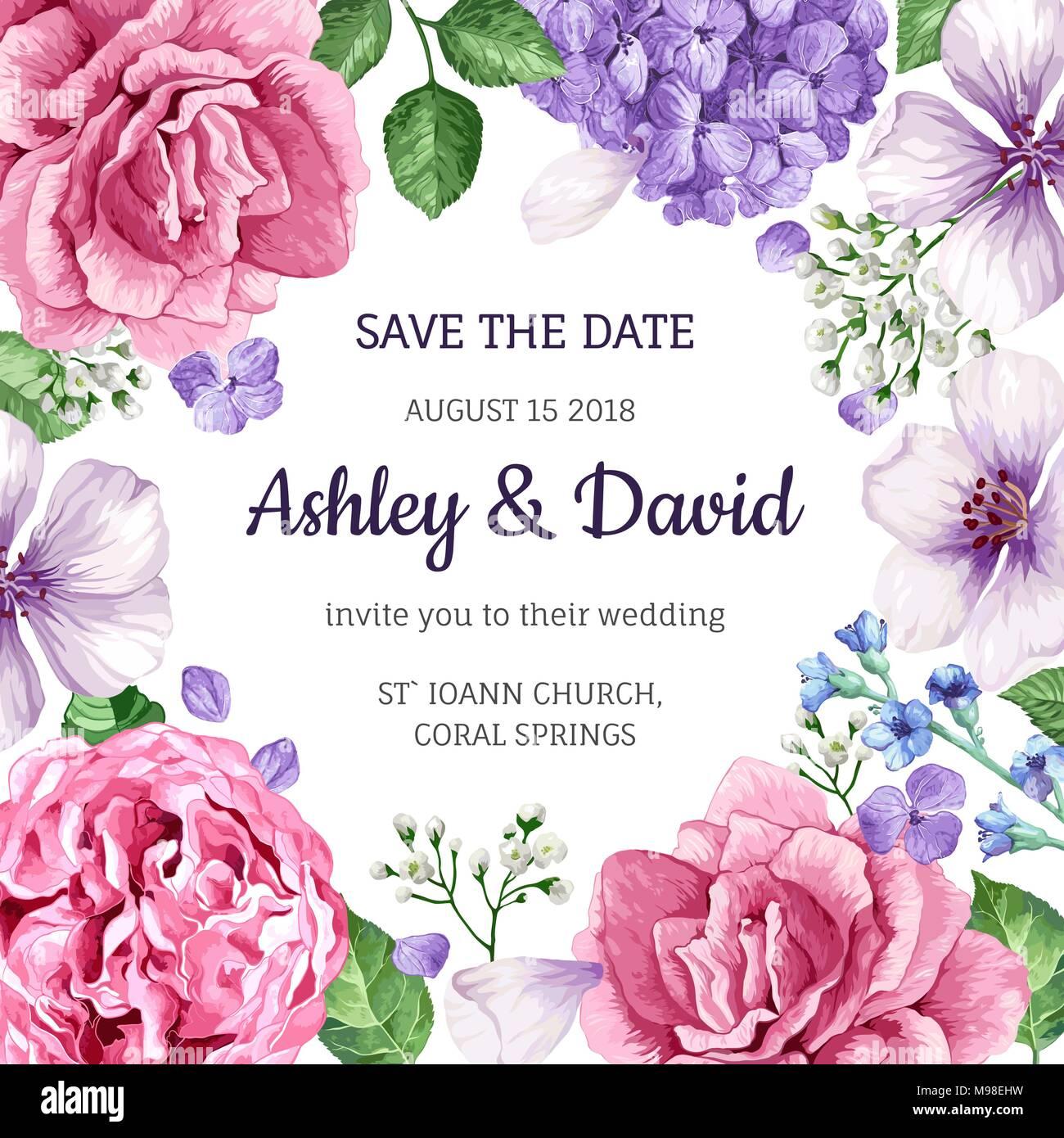 Hochzeit Einladung Karte Mit Blumen In Aquarell Stil Auf Weissem