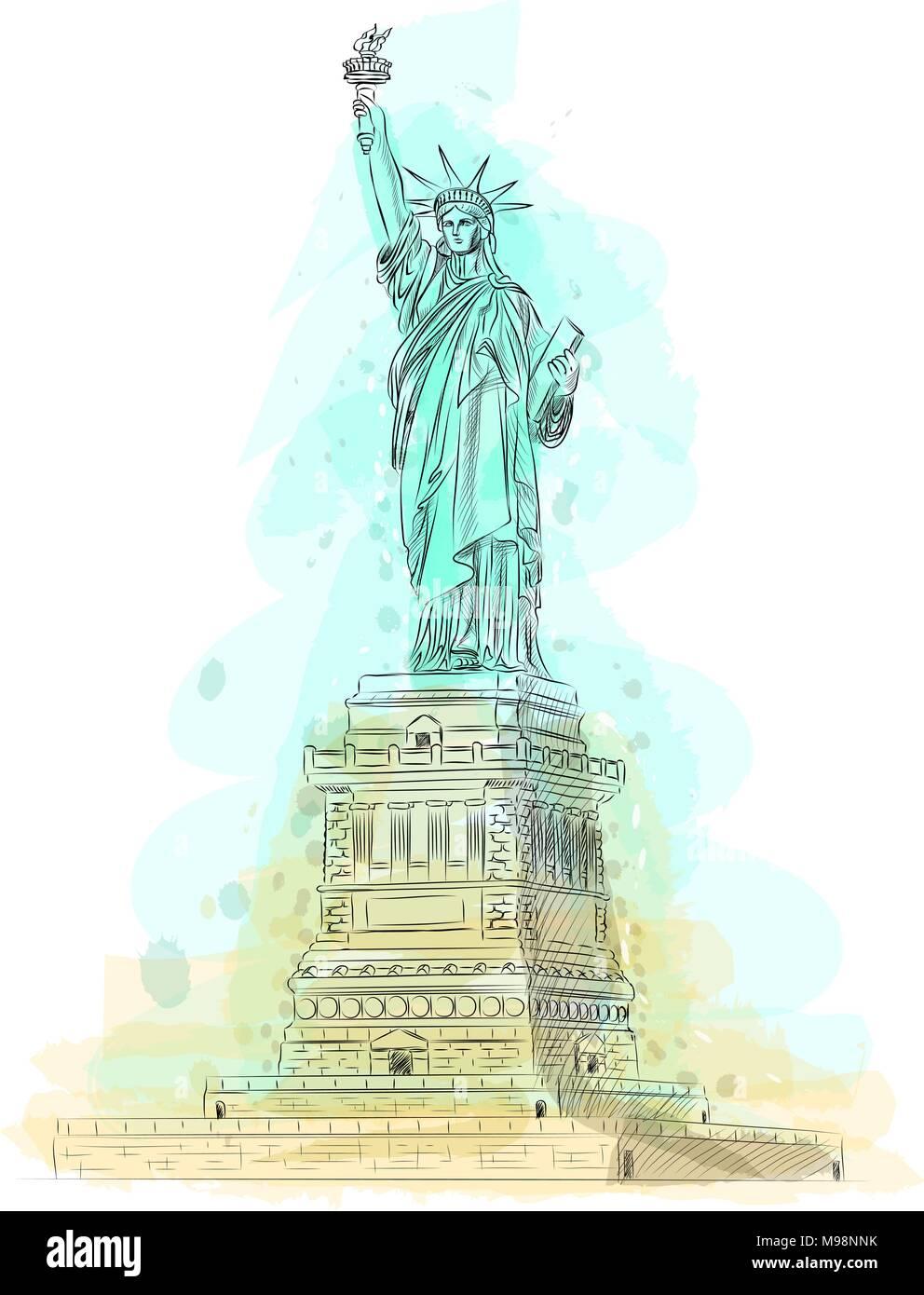 Illustration Lady Statue Liberty Torch Stockfotos & Illustration ...