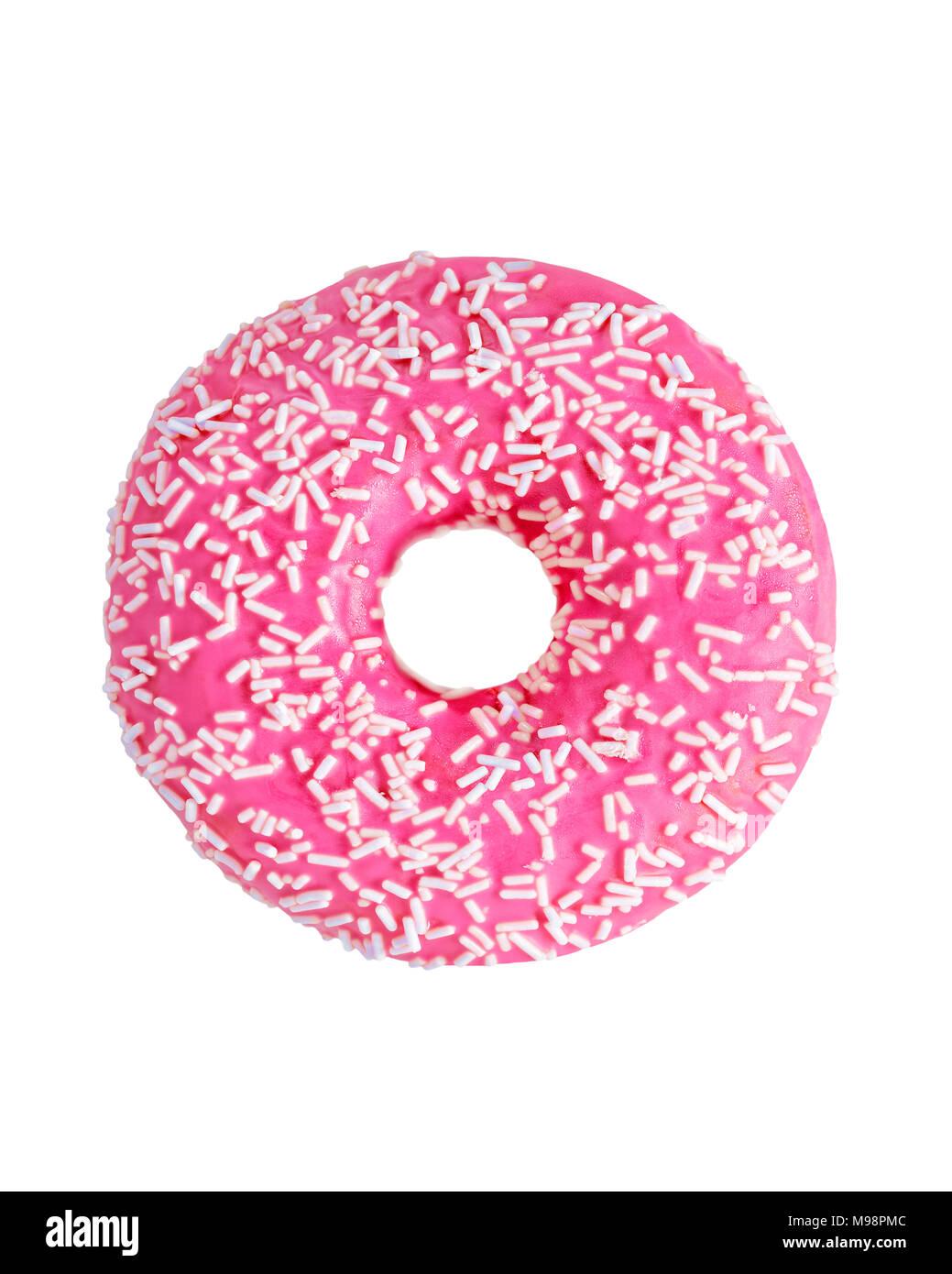 Donut bedeckt mit rosa Zuckerguss, Ausschneiden Stockbild
