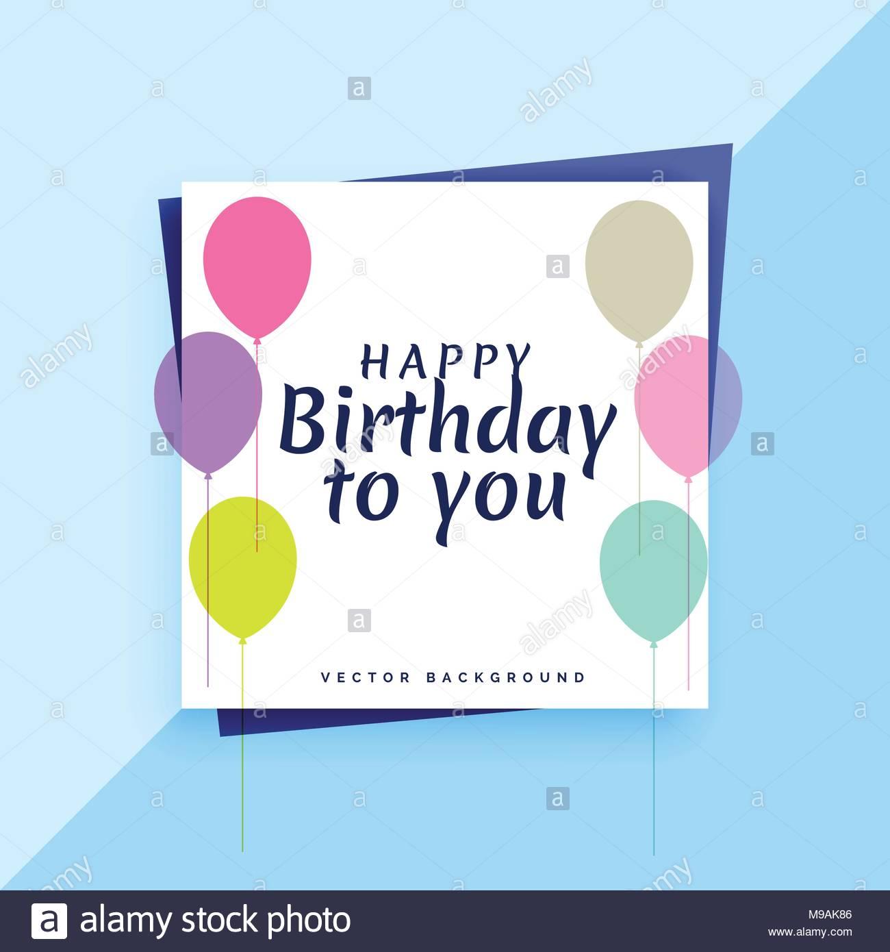 Elegante Happy Birthday Card Design Mit Bunten Luftballons Vektor