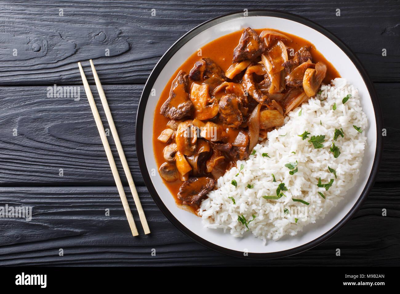 japanische k che scharfes rindfleisch mit zwiebeln und pilze sowie reis hayashi reis close. Black Bedroom Furniture Sets. Home Design Ideas